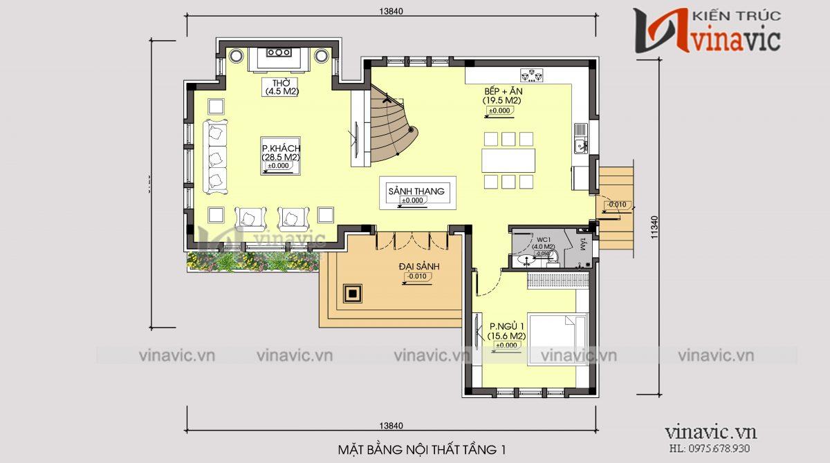 Mặt bằng tầng 1 mẫu nhà biệt thự xinh 2 tầng mái thái mặt tiền rộng