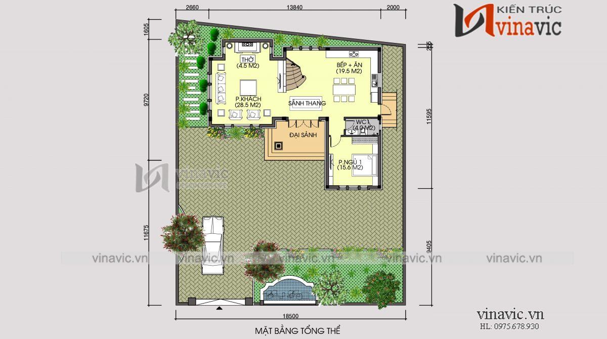 Mặt bằng tổng thể mẫu nhà biệt thự xinh 2 tầng mái thái mặt tiền rộng