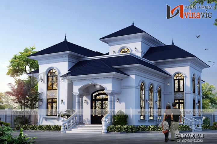 Biệt thự cao cấp 2 tầng hình chữ L tân cổ điển mái thái BT1805