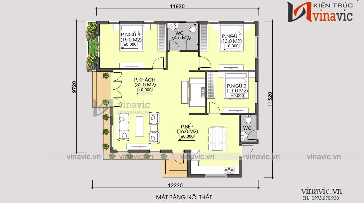 Mặt bằng mẫu nhà biệt thự đẹp 1 tầng hiện đại