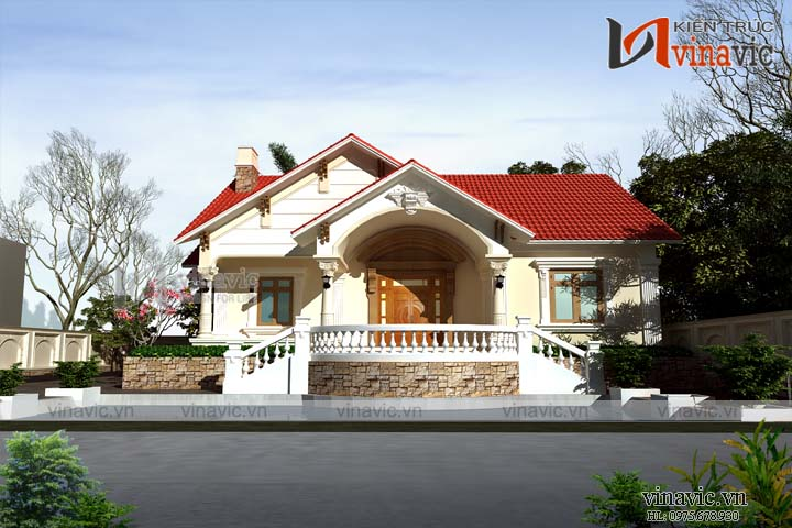 Mẫu nhà cấp 4 nông thôn 250 m2 1 tầng BT1811