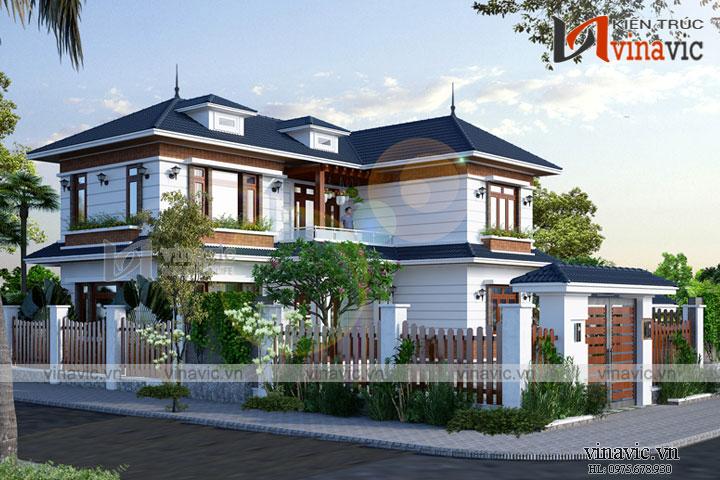 Mẫu nhà xinh 2 tầng chữ L mái thái mặt tiền rộng BT1806