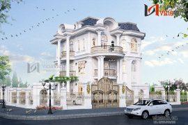 Phối cảnh thiết kế nhà đẹp kiểu dinh thự 4 tầng BT1818