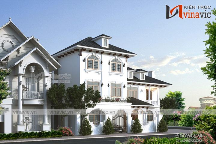 Biệt thự góc 3 tầng mái thái mặt tiền rộng kích thước 18x12m BT1824