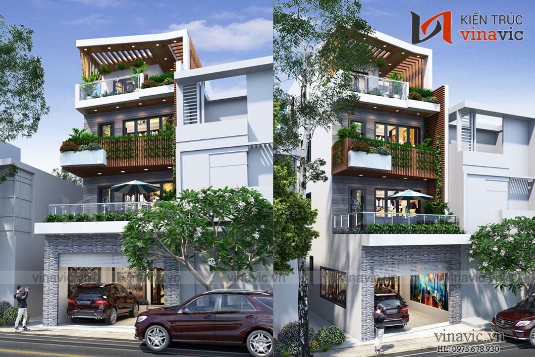 Mẫu thiết kế nhà phố xanh mát 4 tầng hiện đại NO1819