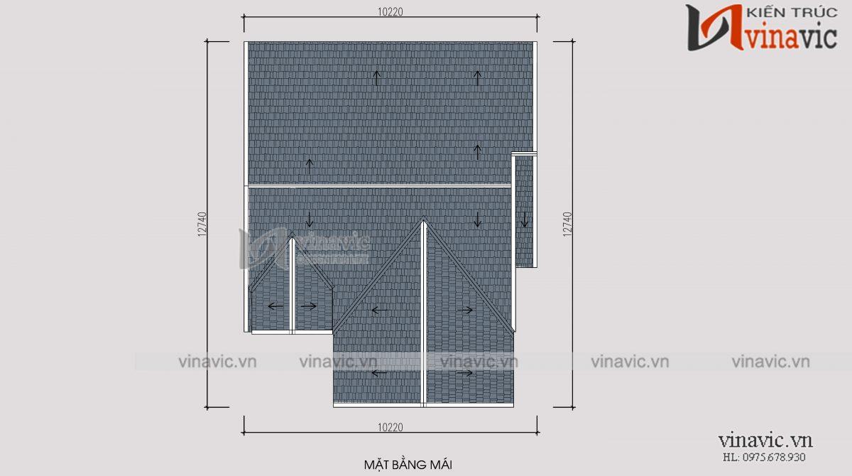 Mặt bằng mái mẫu thiết kế cải tạo biệt thự 3 tầng kiến trúc hiện đại