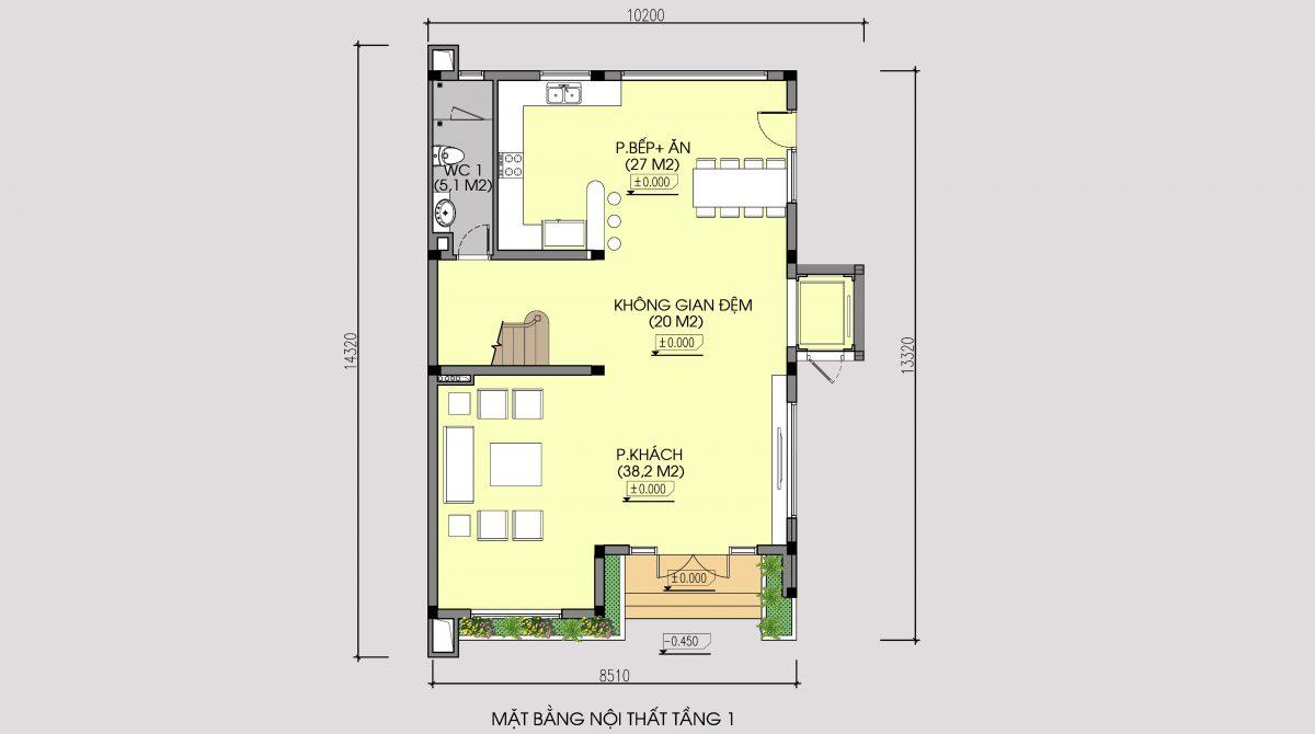 Mặt bằng tầng 1 mẫu thiết kế cải tạo biệt thự 3 tầng kiến trúc hiện đại