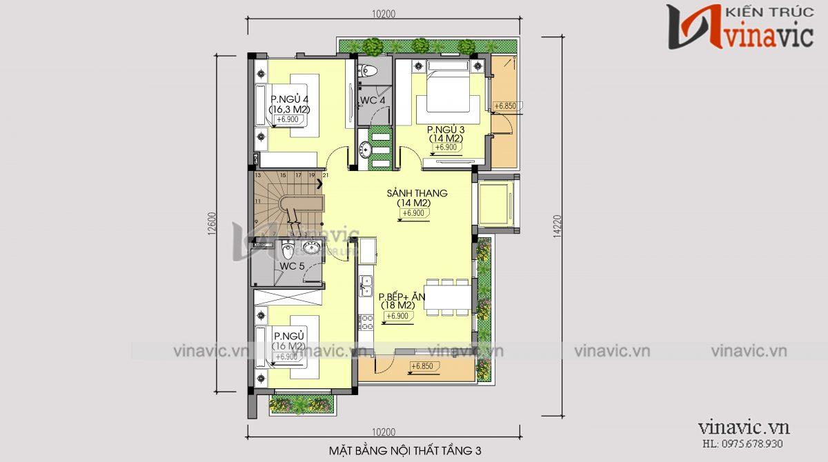 Mặt bằng tầng 3 mẫu thiết kế cải tạo biệt thự 3 tầng kiến trúc hiện đại