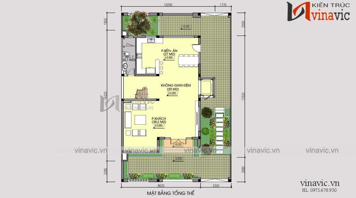 Mặt bằng tổng thể mẫu thiết kế cải tạo biệt thự 3 tầng kiến trúc hiện đại