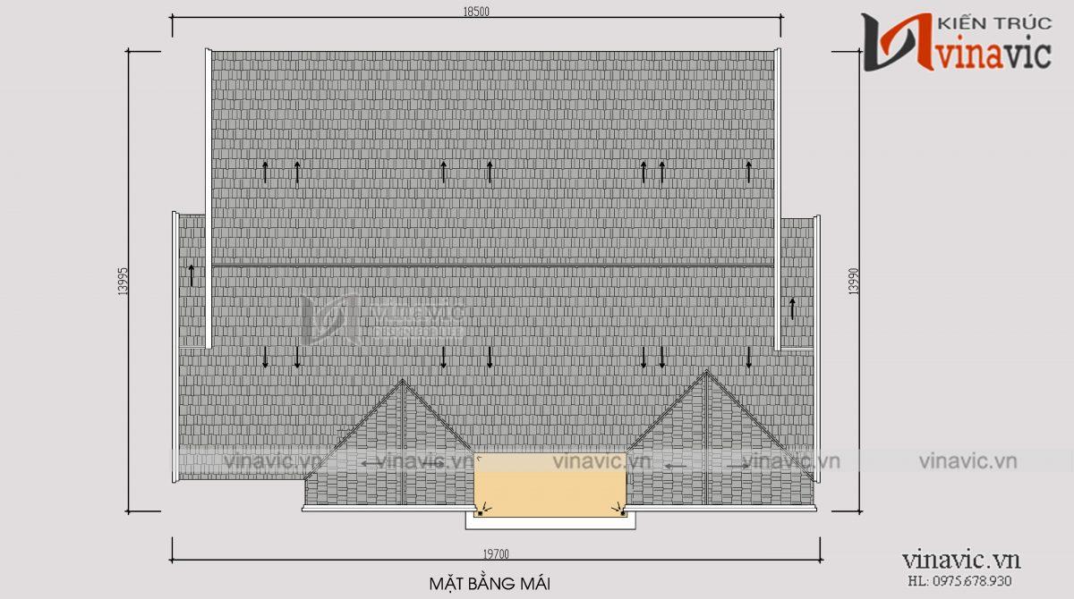 Mặt bằng mái mẫu biệt thự vườn 1 tầng 4 phòng ngủ