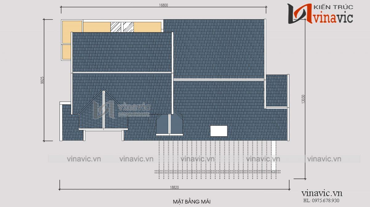 Mặt bằng mái mẫu thiết kế nhà 1 tầng 1 tum mặt tiền 9m 4 phòng ngủ hiện đại