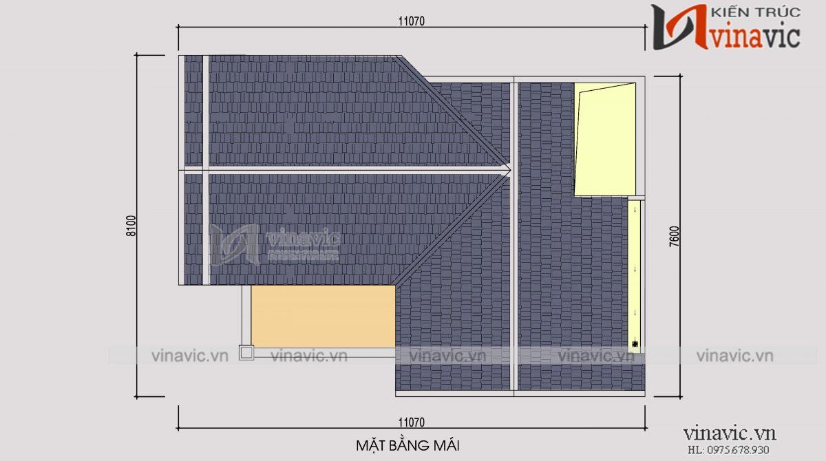 Mặt bằng mái mẫu thiết kế nhà phố 3 tầng mặt tiền 8m sâu 10m kiểu cổ điển