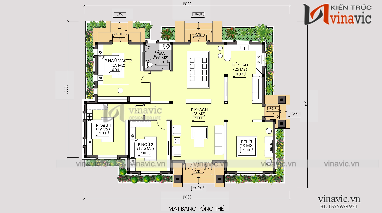 Mẫu mẫu biệt thự vườn 1 tầng 4 phòng ngủ