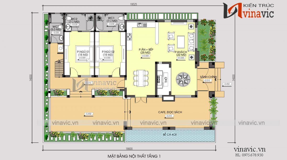 Mặt bằng tầng 1 mẫu thiết kế nhà 1 tầng 1 tum mặt tiền 9m 4 phòng ngủ hiện đại