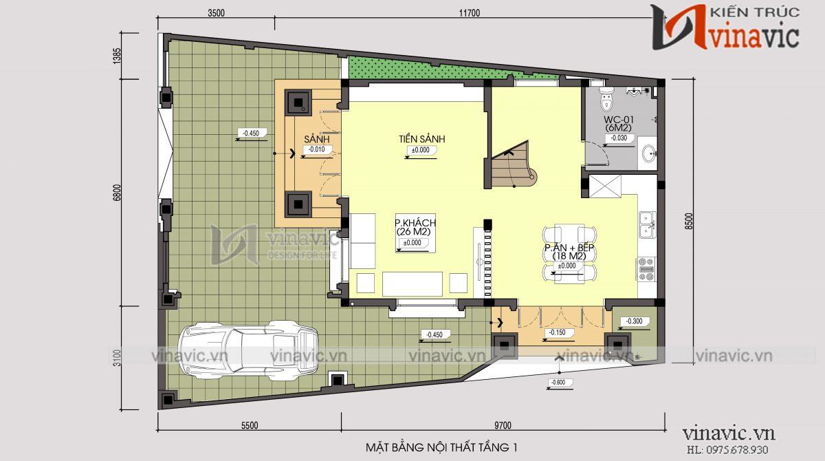 Mặt bằng tầng 1 mẫu thiết kế nhà phố 3 tầng mặt tiền 8m sâu 10m kiểu cổ điển