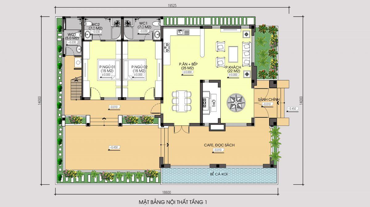 Mặt bằng tầng 2 mẫu thiết kế nhà 1 tầng 1 tum mặt tiền 9m 4 phòng ngủ hiện đại