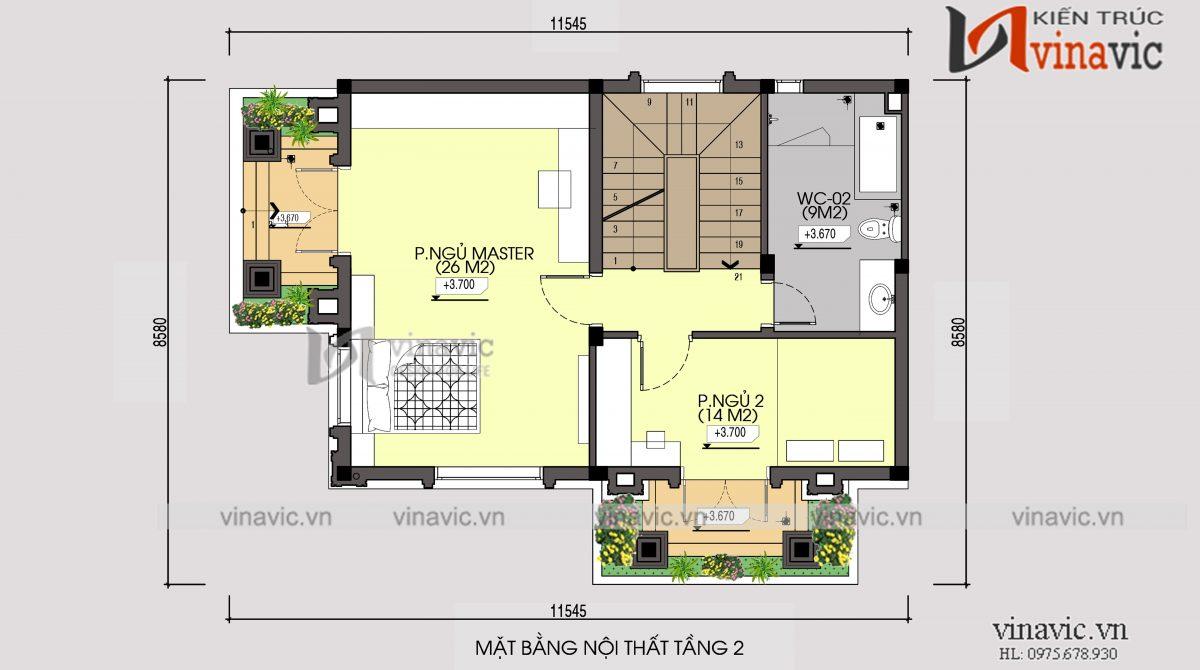 Mặt bằng tầng 2 mẫu thiết kế nhà phố 3 tầng mặt tiền 8m sâu 10m kiểu cổ điển