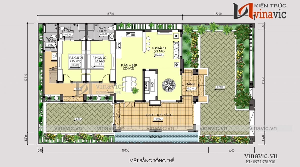 Mặt bằng tổng thể mẫu thiết kế nhà 1 tầng 1 tum mặt tiền 9m 4 phòng ngủ hiện đại
