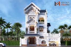 Mẫu thiết kế nhà biệt thự đẹp 3 tầng cổ điển sang trọng BT1834