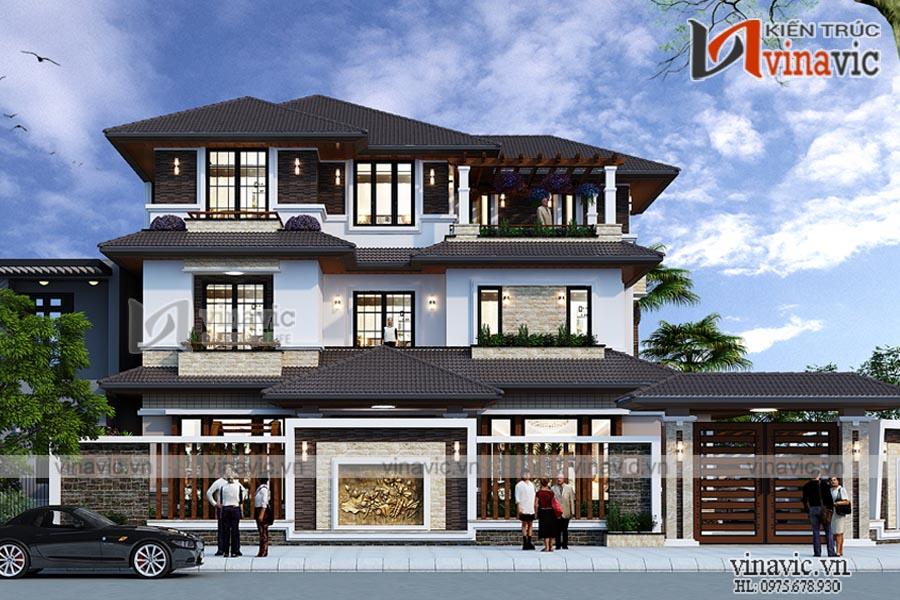 Mẫu thiết kế biệt thự 3 tầng kiến trúc hiện đại tuyệt đẹp BT1830