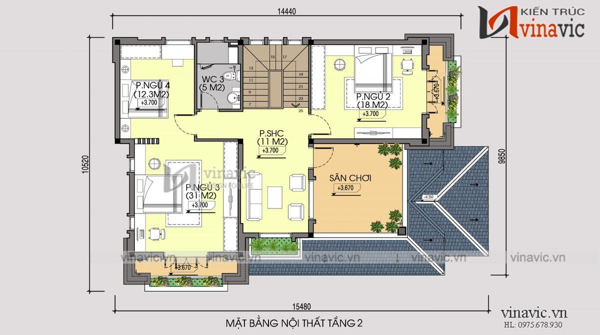 Mặt bằng tầng 2 mẫu thiết kế biệt thự 2 tầng 2 mặt tiền
