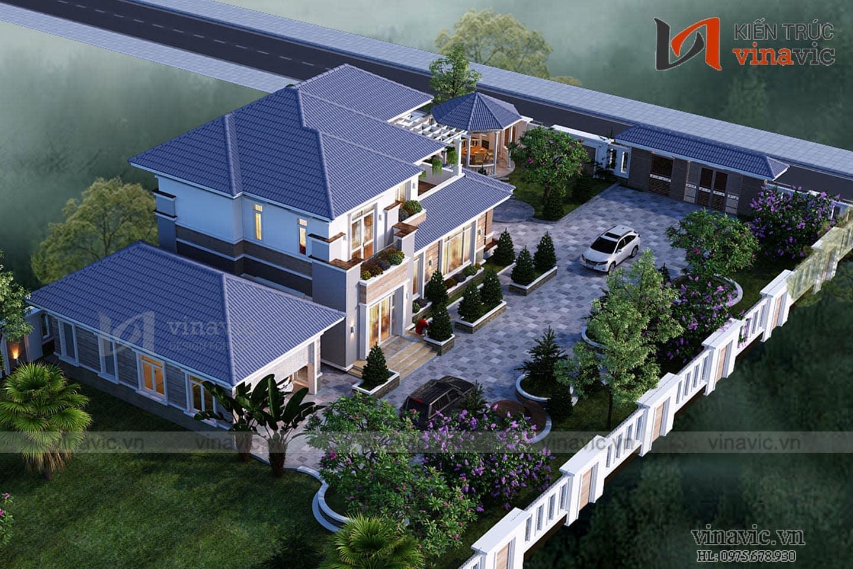 Mẫu thiết kế biệt thự 2 tầng mái thái hiện đại BT1835