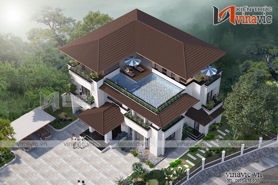 Mẫu thiết kế Villa 3 tầng hiện đại tuyệt đẹp giữa lòng thành phố Vĩnh Yên BT1838