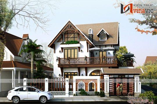 Mẫu nhà 2 tầng thiết kế kiểu Hàn Quốc mặt tiền 12m đầy ấn tượng