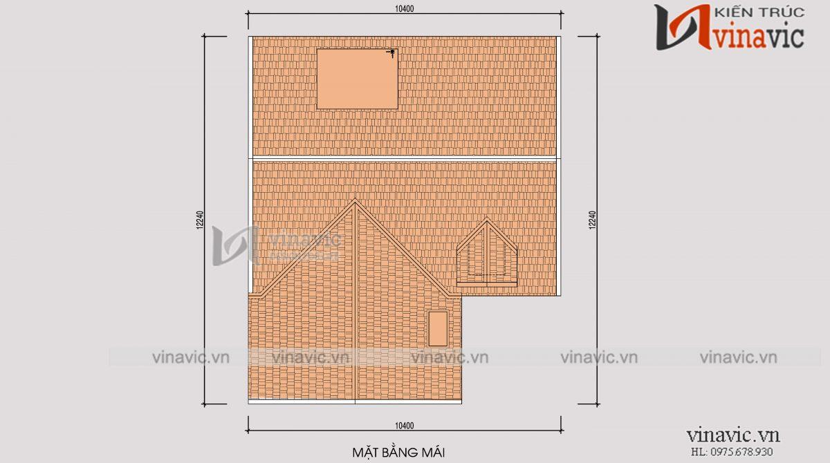Mặt bằng mái mẫu nhà 2 tầng thiết kế kiểu Hàn Quốc mặt tiền 12m
