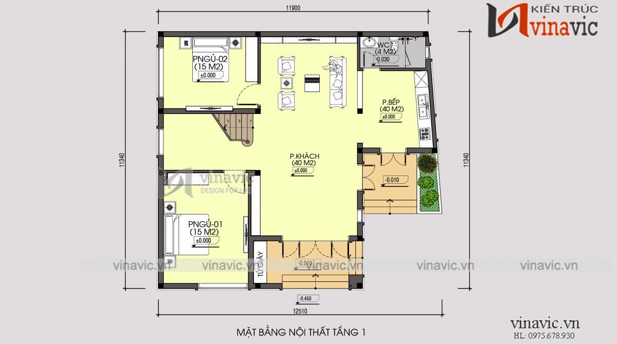 Mặt bằng tầng 1 mẫu nhà 2 tầng thiết kế kiểu Hàn Quốc mặt tiền 12m