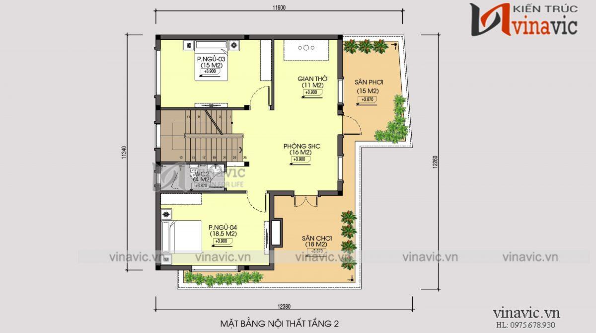 Mặt bằng tầng 2 mẫu nhà 2 tầng thiết kế kiểu Hàn Quốc mặt tiền 12m