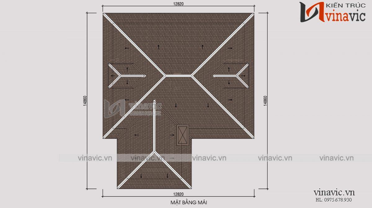 Mặt bằng mái nhà vuông 300m2 3 phòng ngủ 2 mặt tiền ở Sơn La
