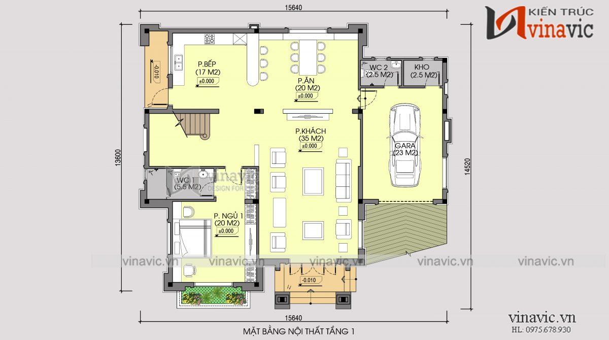 Mặt bằng tầng 1 nhà vuông 300m2 3 phòng ngủ 2 mặt tiền ở Sơn La