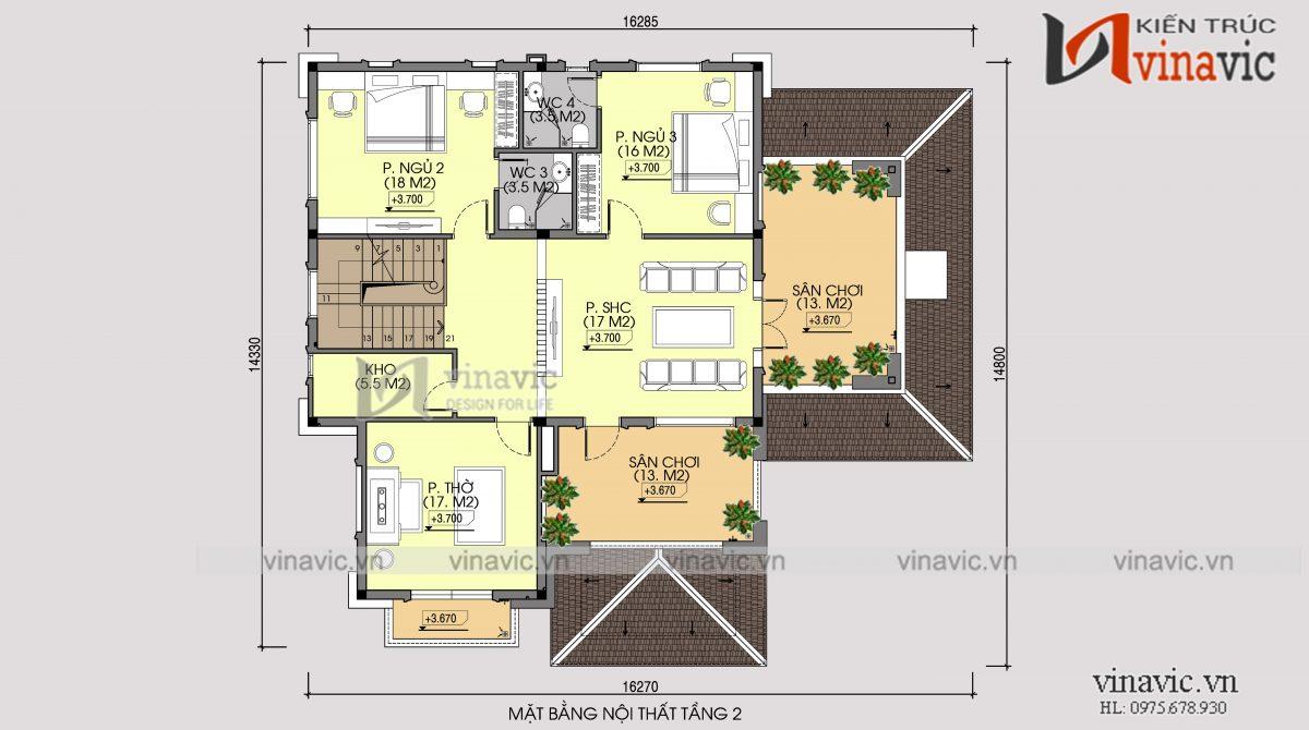 Mặt bằng tầng 2 nhà vuông 300m2 3 phòng ngủ 2 mặt tiền ở Sơn La