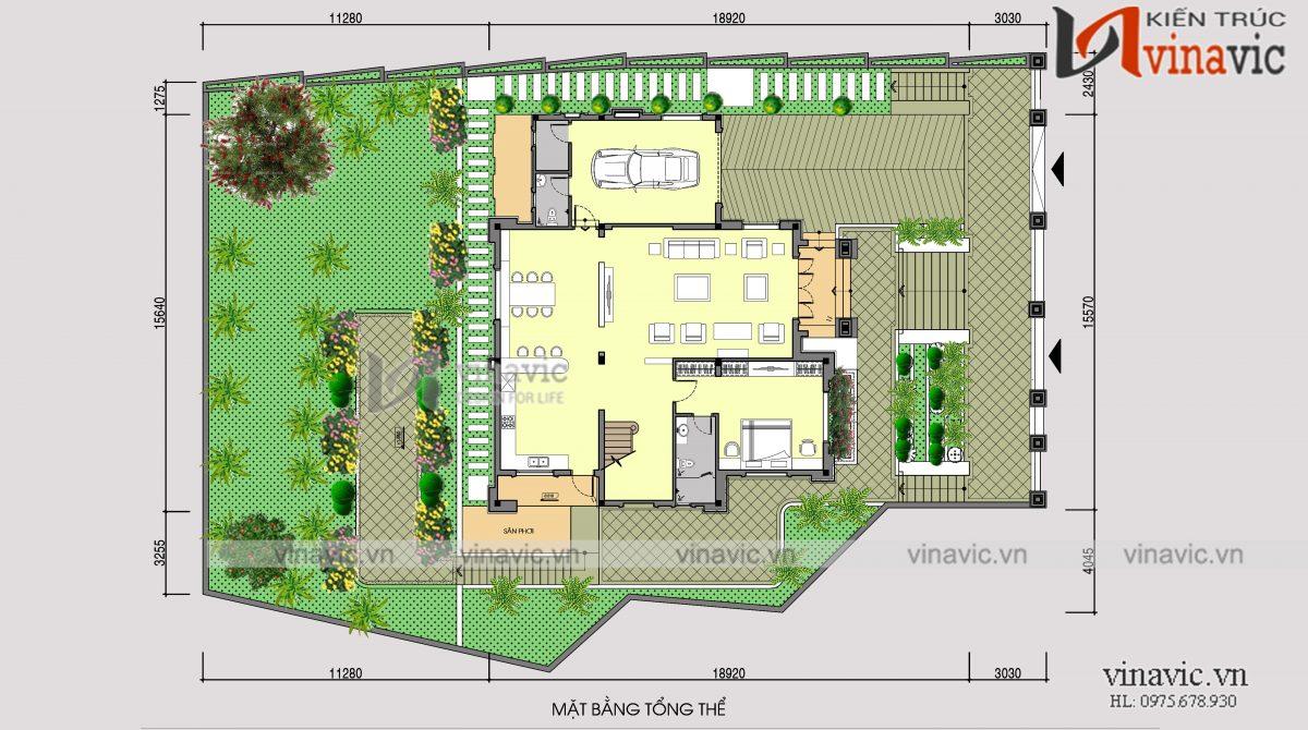 Mặt bằng tổng thể nhà vuông 300m2 3 phòng ngủ 2 mặt tiền ở Sơn La