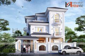 Biệt thự 3 tầng 120m2 mặt tiền 10m 6 phòng ngủ thiết kế tân cổ điển