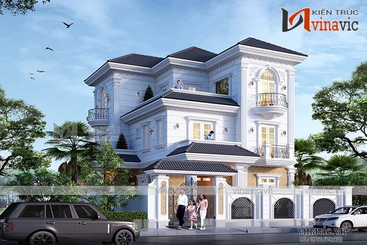 Biệt thự 3 tầng 120m2 mặt tiền 10m 6 phòng ngủ thiết kế tân cổ điển BT1905