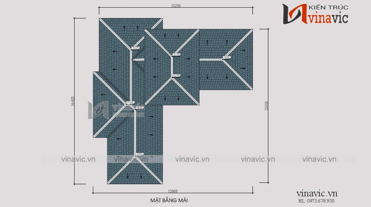 Mặt bằng mái biệt thự 350m2 4 phòng ngủ 2 tầng 1 lửng mức đầu tư 2.5 tỷ ở Phú Thọ