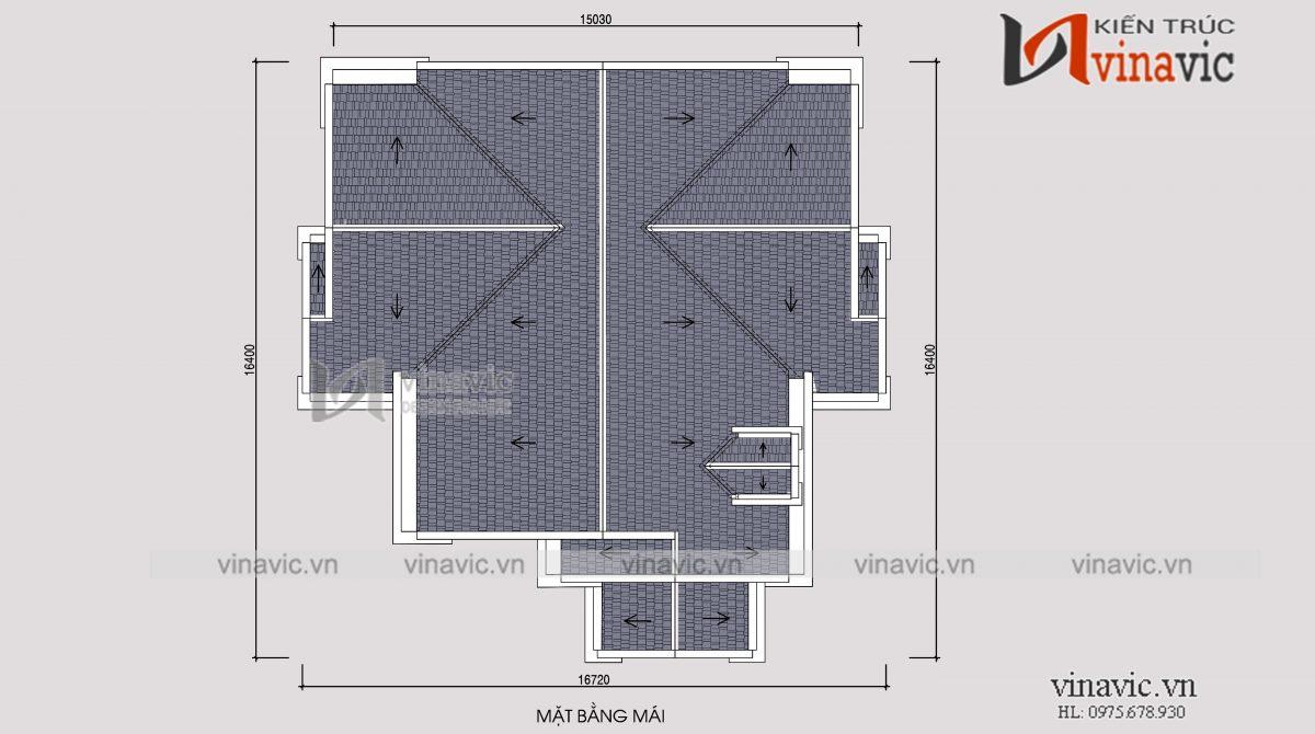 Mặt bằng mái nhà vườn 1 tầng 4 phòng ngủ 240m2 chi phí đầu tư khoảng 1.5 tỷ BT1904