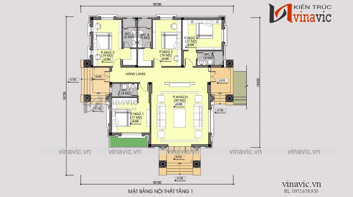 Mặt bằng nhà vườn 1 tầng 4 phòng ngủ 240m2 chi phí đầu tư khoảng 1.5 tỷ BT1904