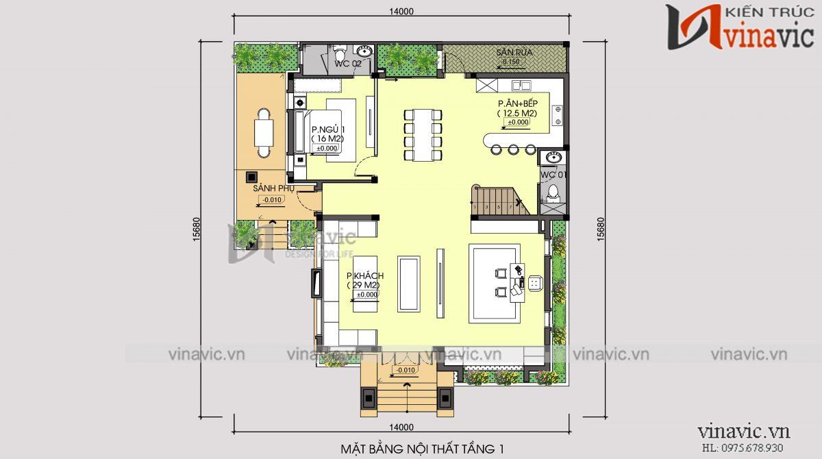Mặt bằng tầng 1 biệt thự 3 tầng 120m2 mặt tiền 10m 6 phòng ngủ thiết kế tân cổ điển