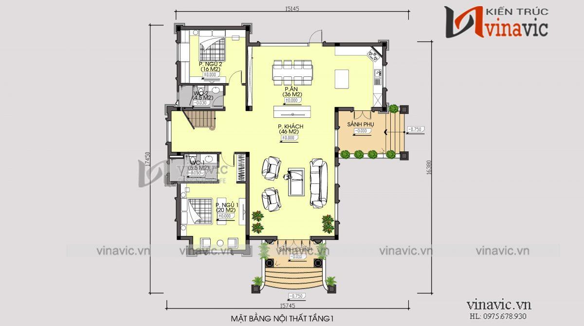 Mặt bằng tầng 1 biệt thự 350m2 4 phòng ngủ 2 tầng 1 lửng mức đầu tư 2.5 tỷ ở Phú Thọ