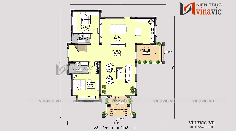 Biệt thự 350m2 4 phòng ngủ 2 tầng 1 lửng mức đầu tư 2.5 tỷ ở Phú Thọ BT1903