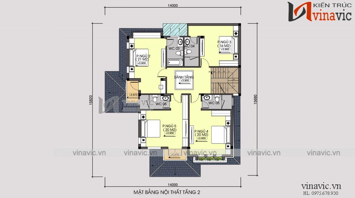 Mặt bằng tầng 2 biệt thự 3 tầng 120m2 mặt tiền 10m 6 phòng ngủ thiết kế tân cổ điển