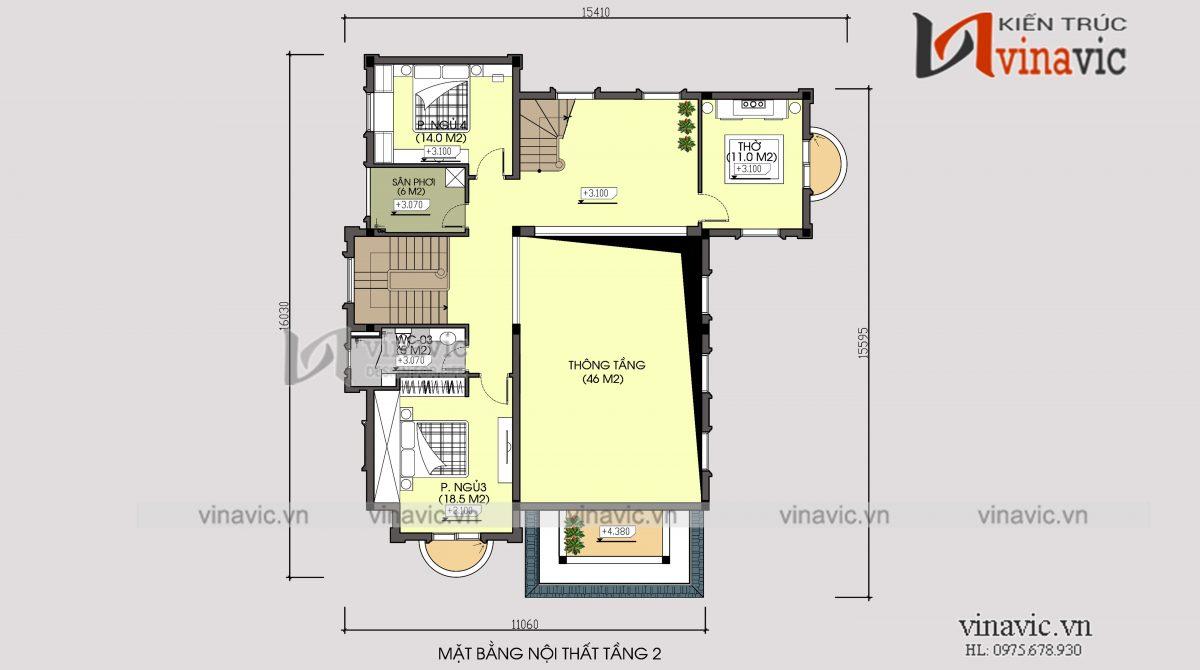 Mặt bằng tầng 2 biệt thự 350m2 4 phòng ngủ 2 tầng 1 lửng mức đầu tư 2.5 tỷ ở Phú Thọ