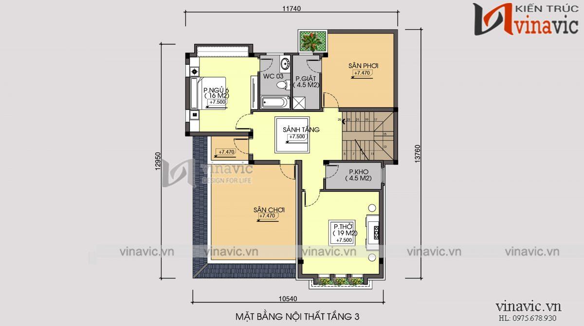 Mặt bằng tầng 3 biệt thự 3 tầng 120m2 mặt tiền 10m 6 phòng ngủ thiết kế tân cổ điển