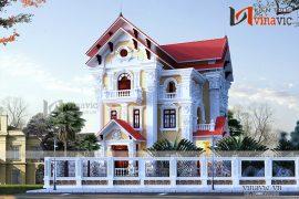 Thiết kế nhà 3 tầng 12x13m 150m2 mái thái 2 mặt tiền cổ điển