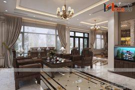 Góc nhìn 2 nội thất phòng khách biệt thự mang tone màu trầm ấm đầy ấn tượng NTBT 1802