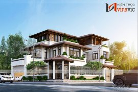 Thiết kế biệt thự 3 tầng hiện đại với cây xanh quanh nhà
