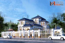 Góc nhìn từ ngoài mẫu villa 3 tầng mang phong cách tân cổ điển BT1907